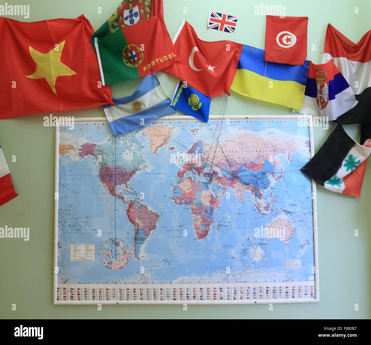 Children have decorated a world map with flags form different stock children have decorated a world map with flags form different countries in the child daycare center kunterbunt in magdeburg saxony anhalt germany gumiabroncs Choice Image
