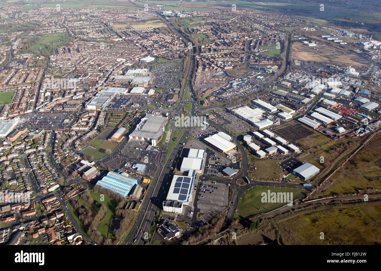 aerial view of the Cheshire town of Widnes, UK - Stock Image