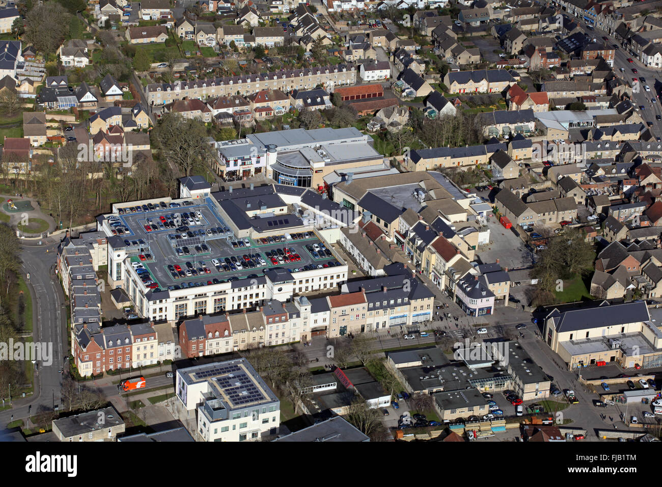 aerial view of Witney town centre in Oxfordshire, UK - Stock Image