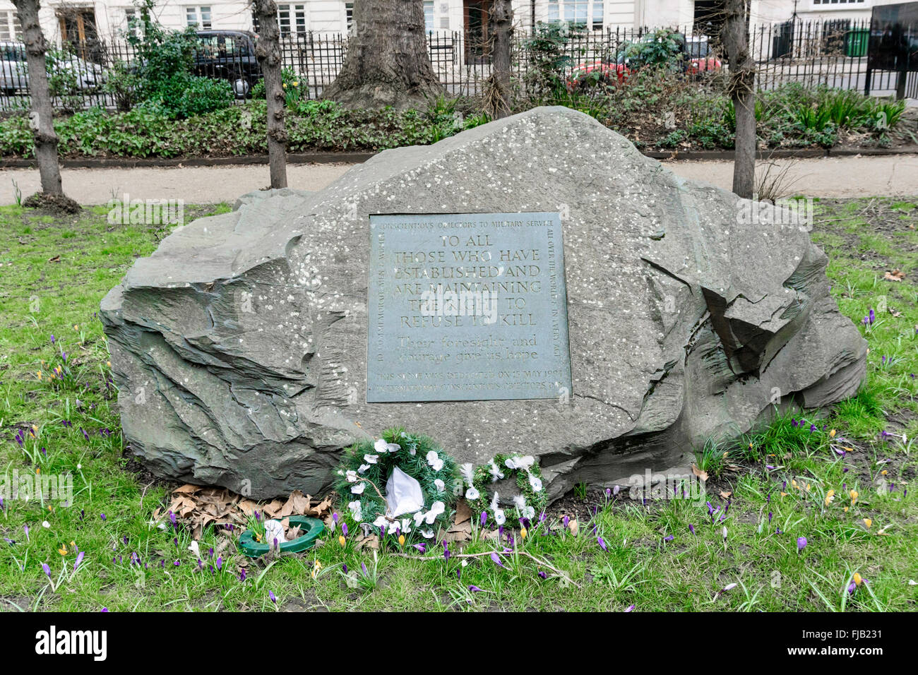 Conscientious objector memorial in Tavistock Square, London - Stock Image