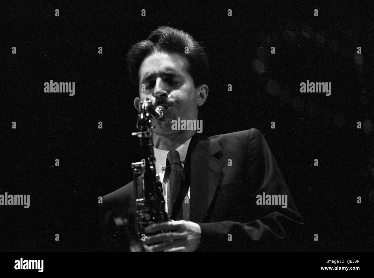 Scott Hamilton at the Kool Jazz Festival in Stanhope, New Jersey, June 1982. - Stock Image