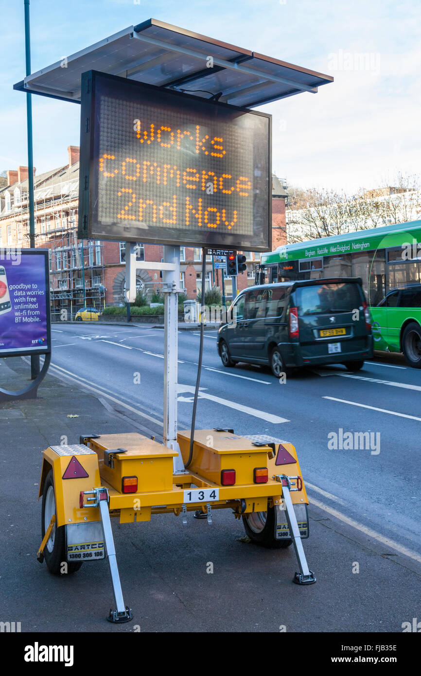 Solar powered mobile matrix road sign, Nottingham, England, UK - Stock Image