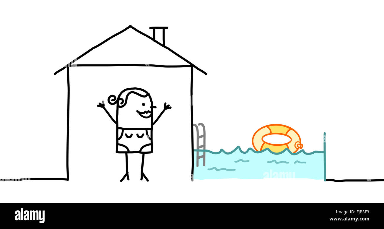 hand drawn cartoon characters woman house with swimming pool