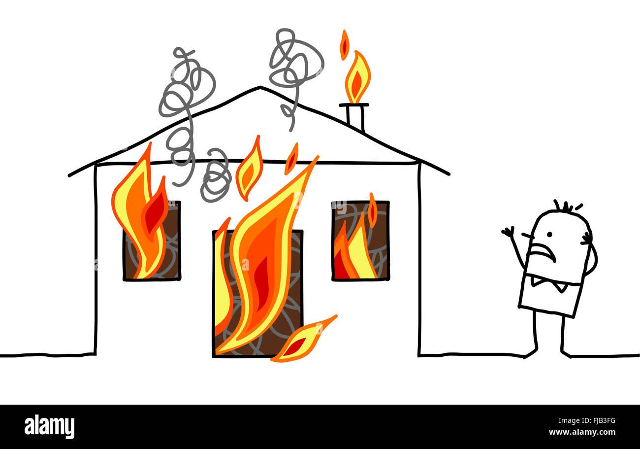 hand drawn cartoon character man with house fire stock photo rh alamy com cartoon house on fire images house on fire blm cartoon