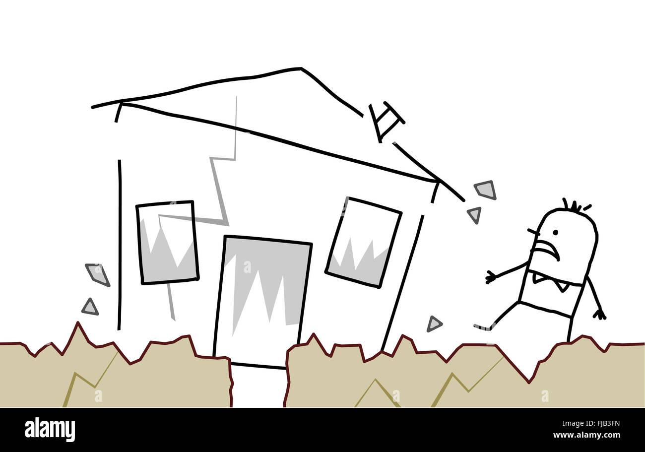 Hand Drawn Cartoon Character Man With House Earthquake Stock