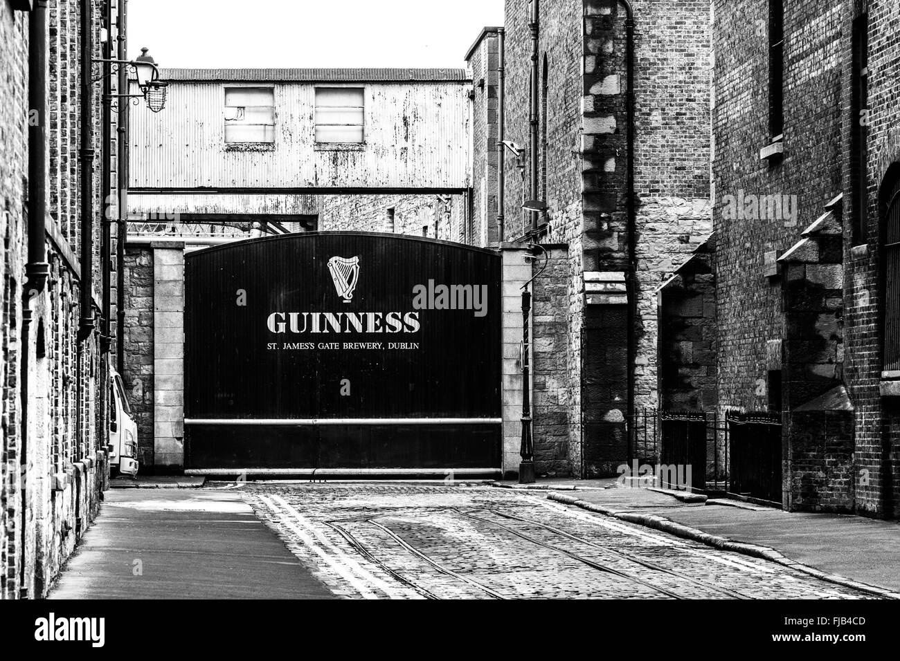 Black and White image of the Guinness gate at Rainsford Street in Dublin - Stock Image