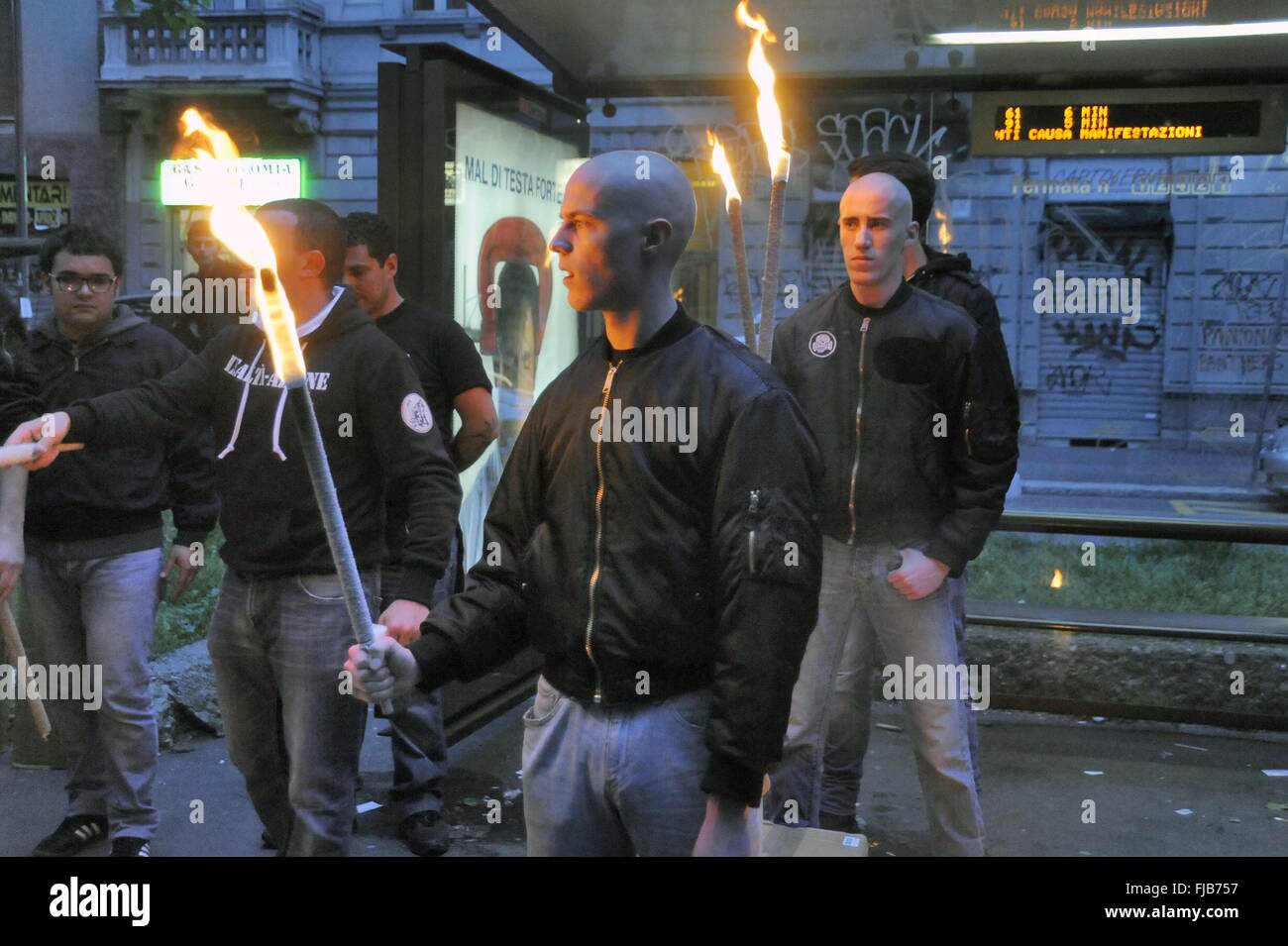 Milan demonstration of far-right groups in the anniversary of two killed in 1975 Stock Photo