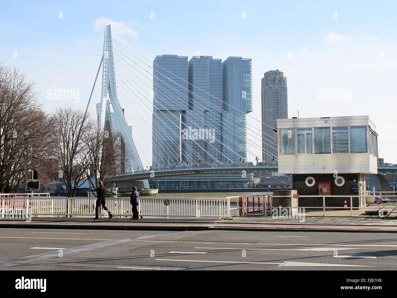 Nieuwe Leuvebrug, Rotterdam. Behind it the Erasmus bridge. In background 'De Rotterdam' skyscraper complex - Stock Image