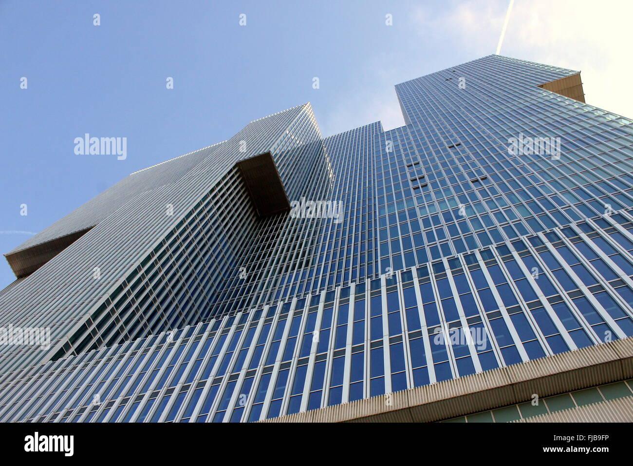 Vertigo-inducing perspective on the 'De Rotterdam'  skyscraper (2013) in  Rotterdam, designed by Dutch architect - Stock Image