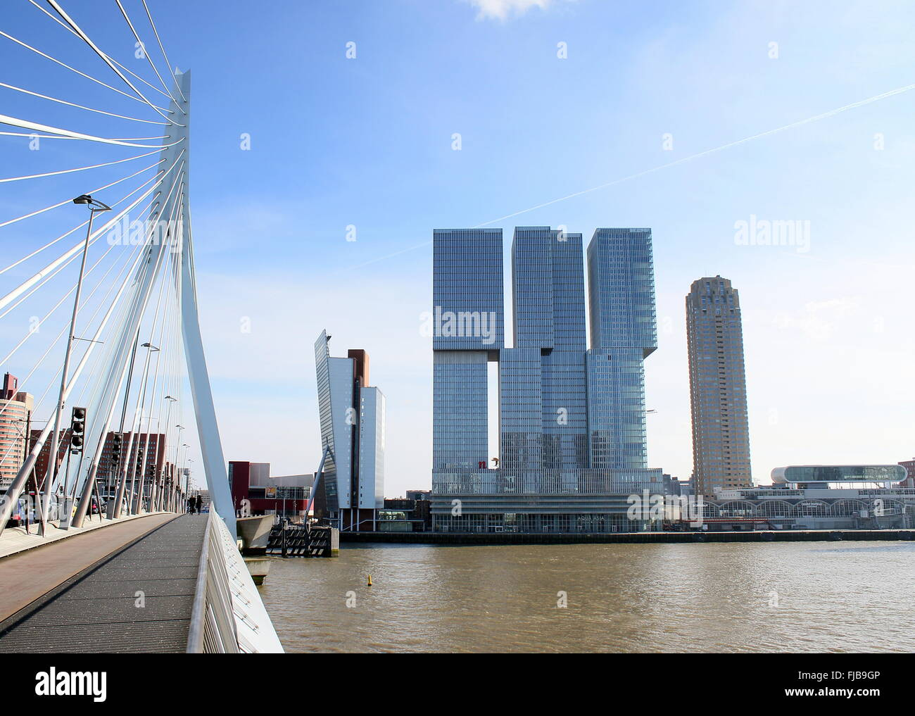'De Rotterdam'  complex (2013) on Wilhelminapier, Rotterdam, designed by Dutch architect Rem Koolhaas. Seen - Stock Image