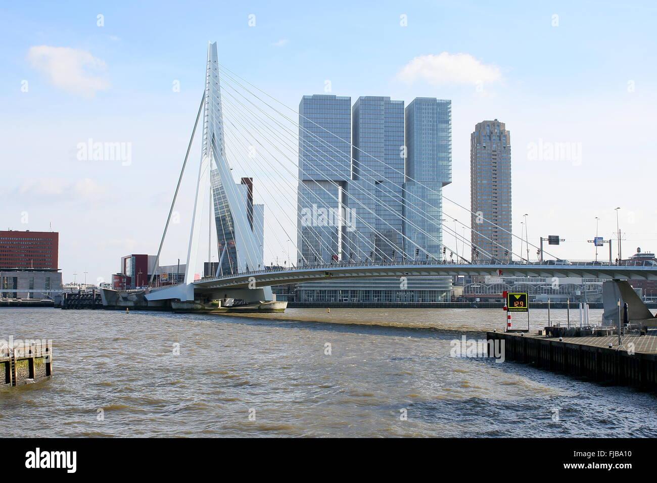 Nieuwe Maas river  with Erasmus bridge, Rotterdam, Netherlands, Behind 'De Rotterdam' skyscraper complex - Stock Image
