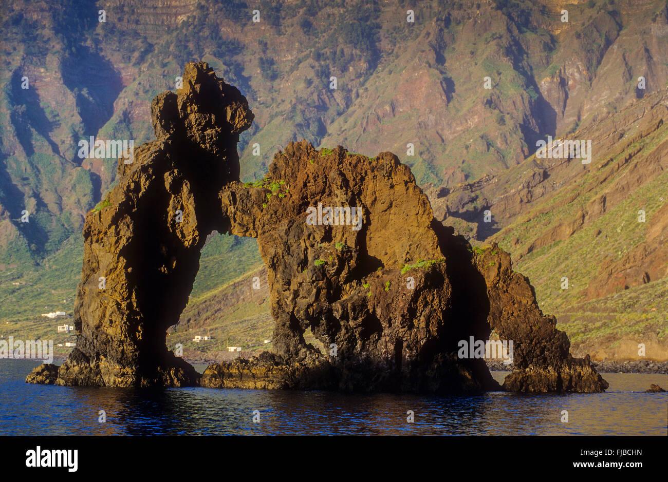 The stone arch Roque de la Bonanza, El Hierro, Canary Island, Spain, Europe Stock Photo
