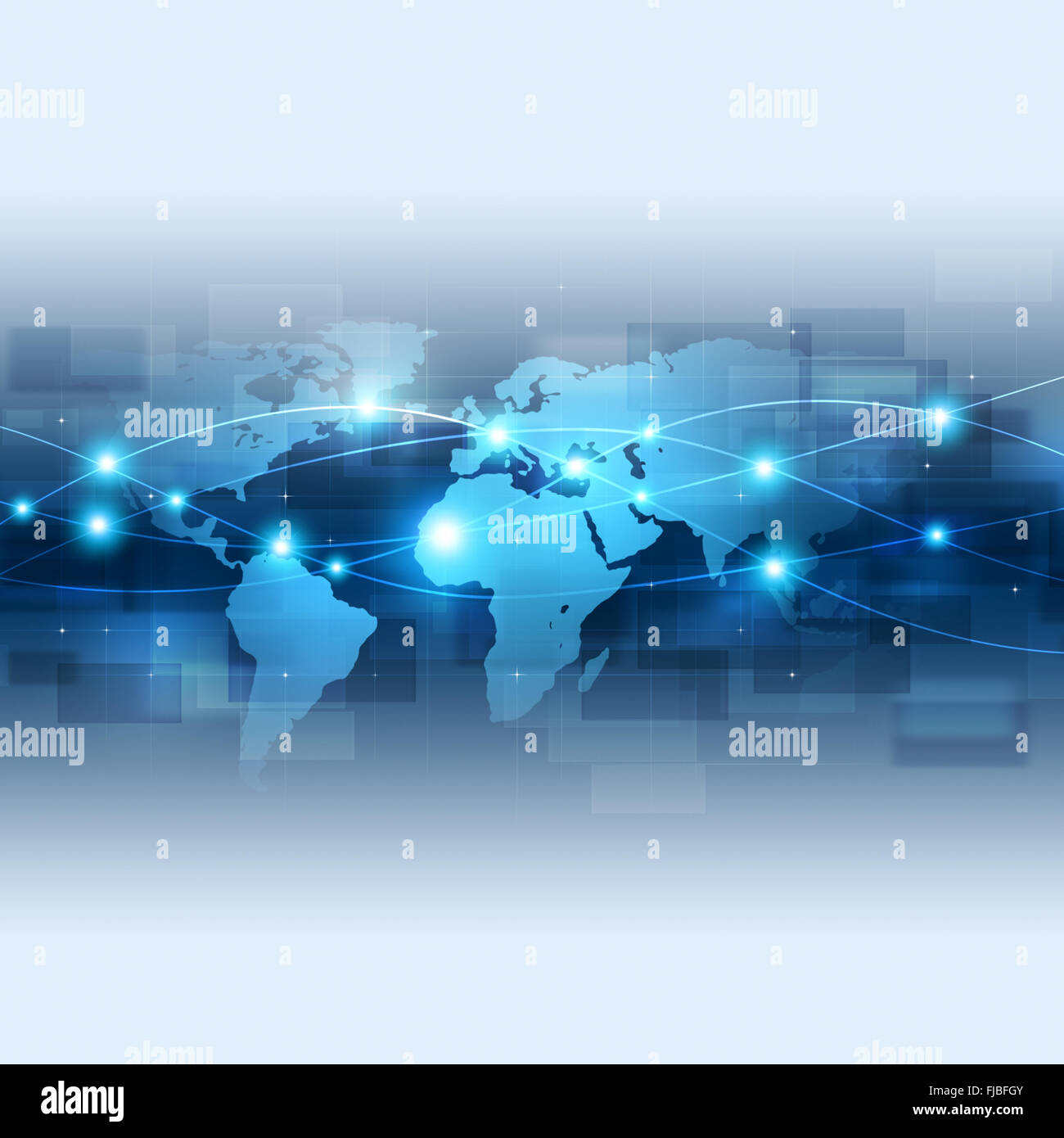 abstract technology global network connection blue background - Stock Image