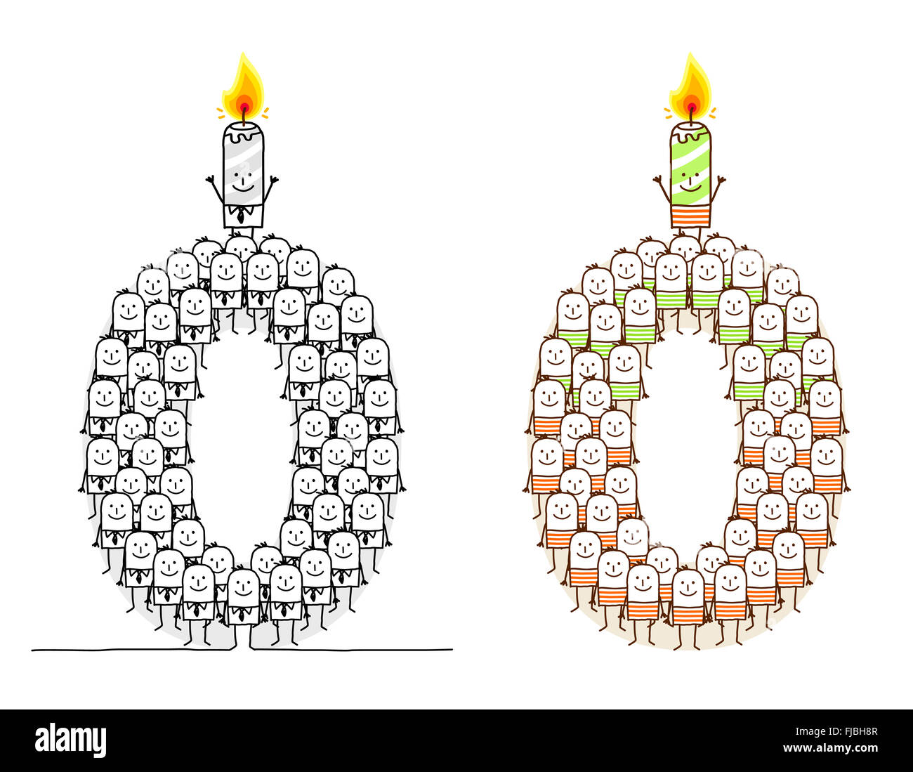 hand drawn cartoon characters - birthday candle 0 - Stock Image