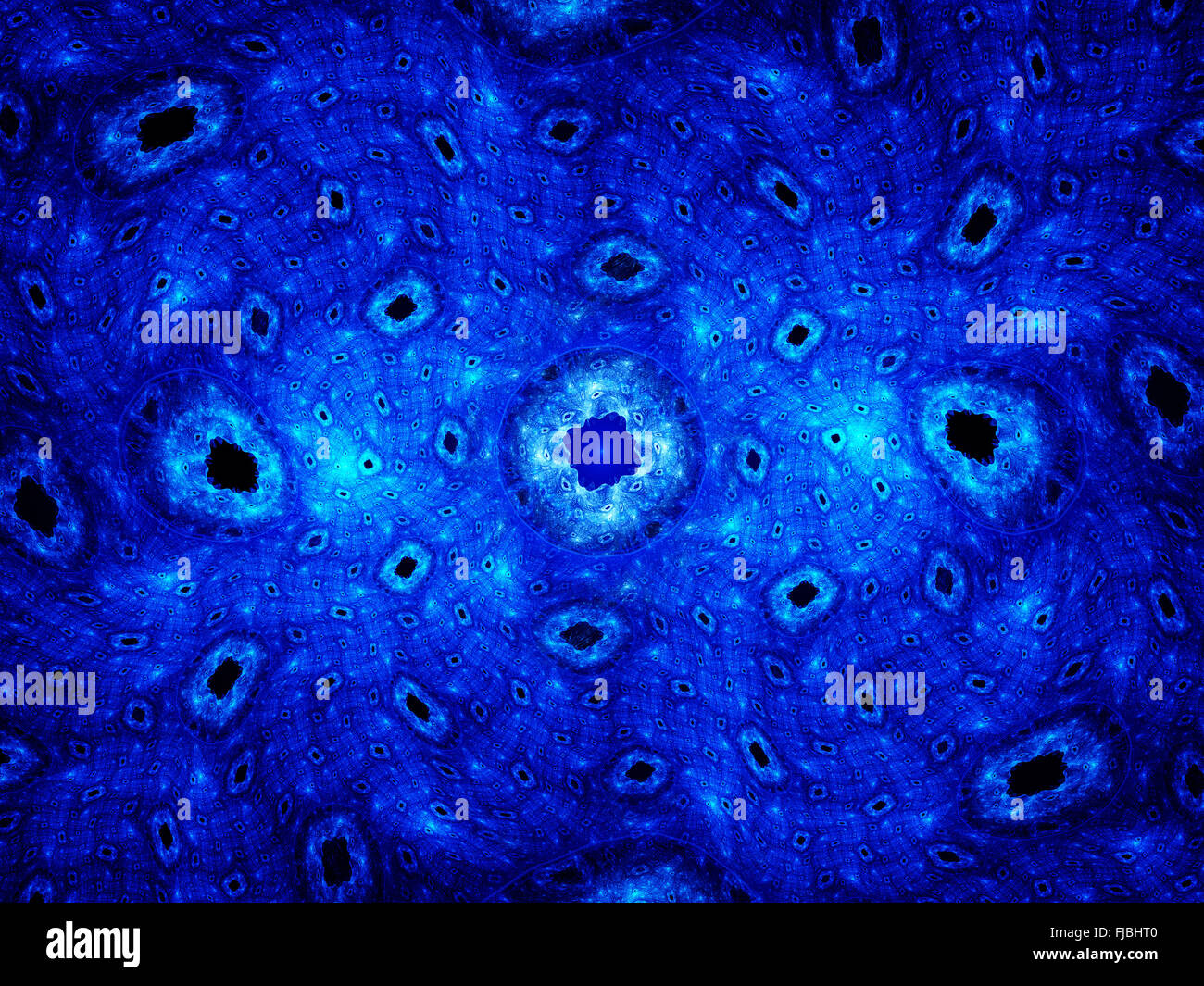 Blue glowing cells, computer generated fractal background Stock Photo