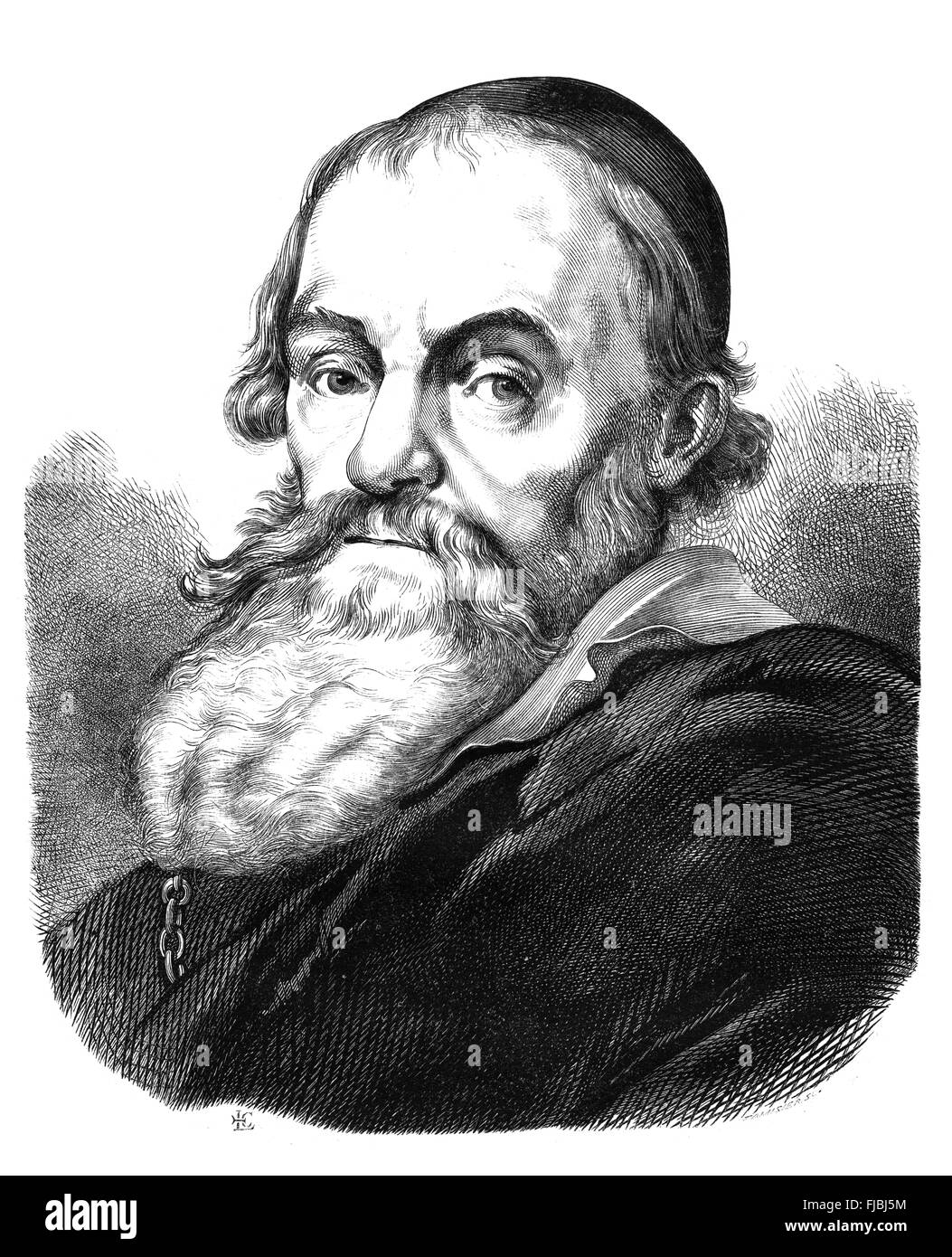 Hendrick Goltzius (1558-1617), German-born Dutch printmaker, draftsman, and painter. Engraving from Magasin Pittoresqie, - Stock Image