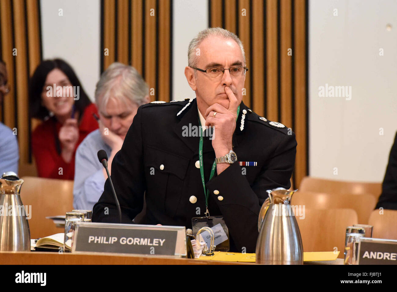 Edinburgh, Scotland, 1st March, 2016. Chief Constable of Police Scotland Philip Gormley appears before the Scottish - Stock Image