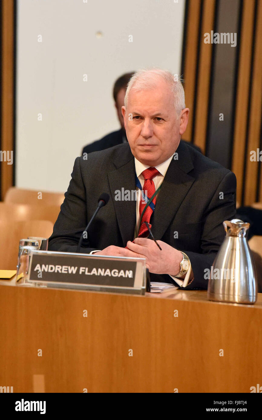 Edinburgh, Scotland, 1st March, 2016. Andrew Flanagan, Chair of the Scottish Police Authority appears before the - Stock Image