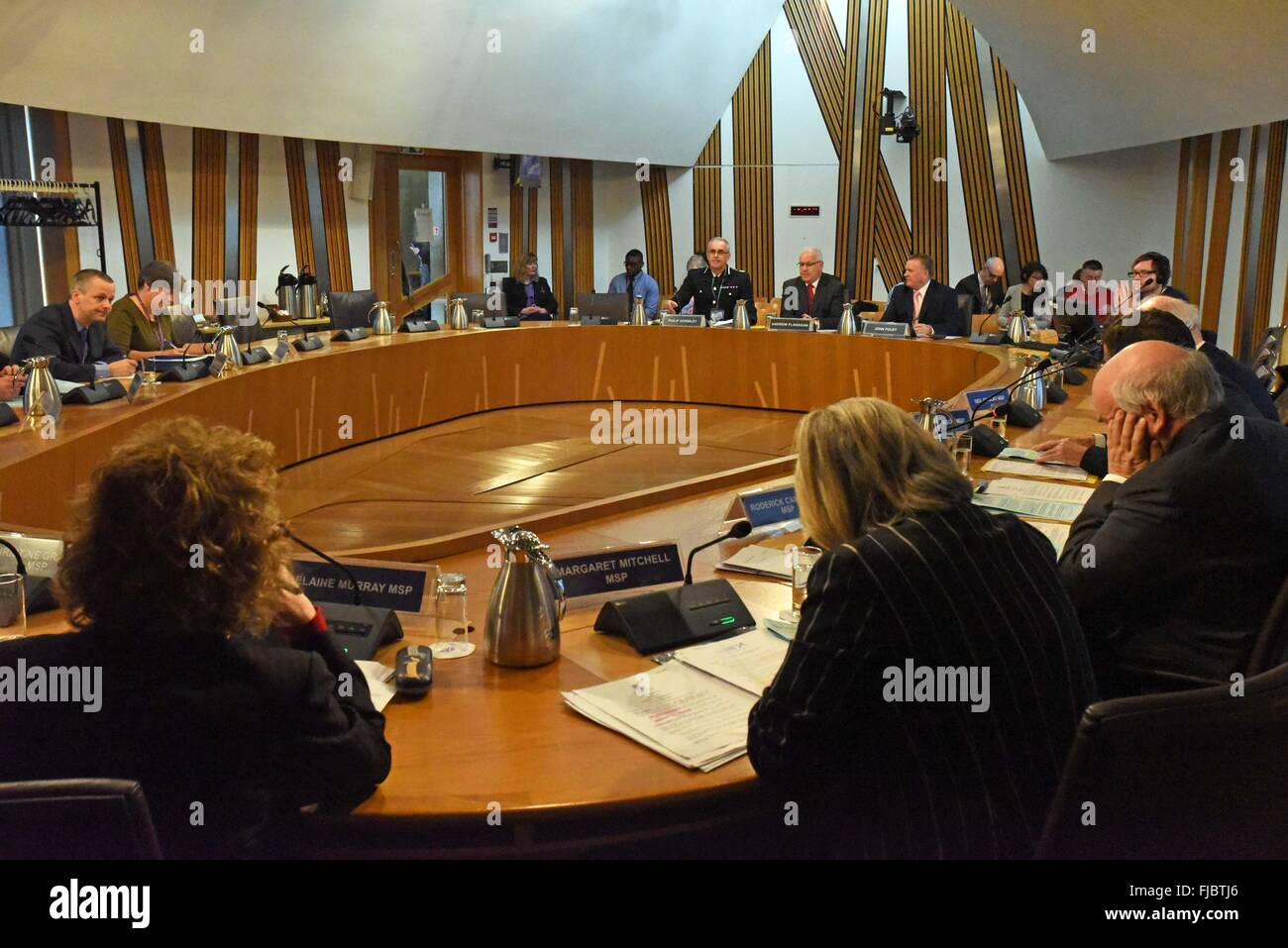 Edinburgh, Scotland, 1st March, 2016. The Justice Committee of the Scottish Parliament takes evidence from the Chief - Stock Image