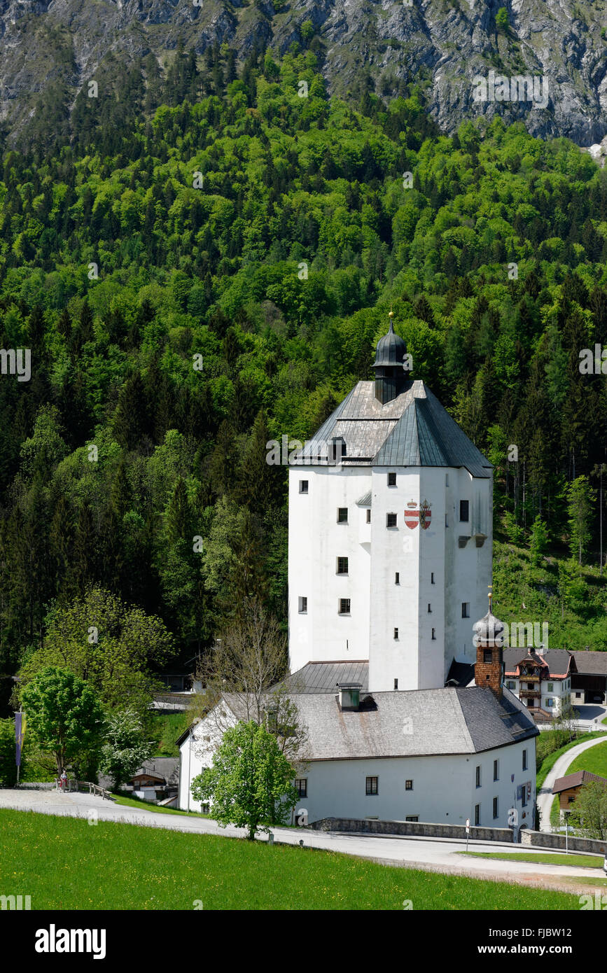 Mariastein with pilgrimage church and bergfried or keep in Kufstein, Inntal valley, Tyrol, Austria Stock Photo