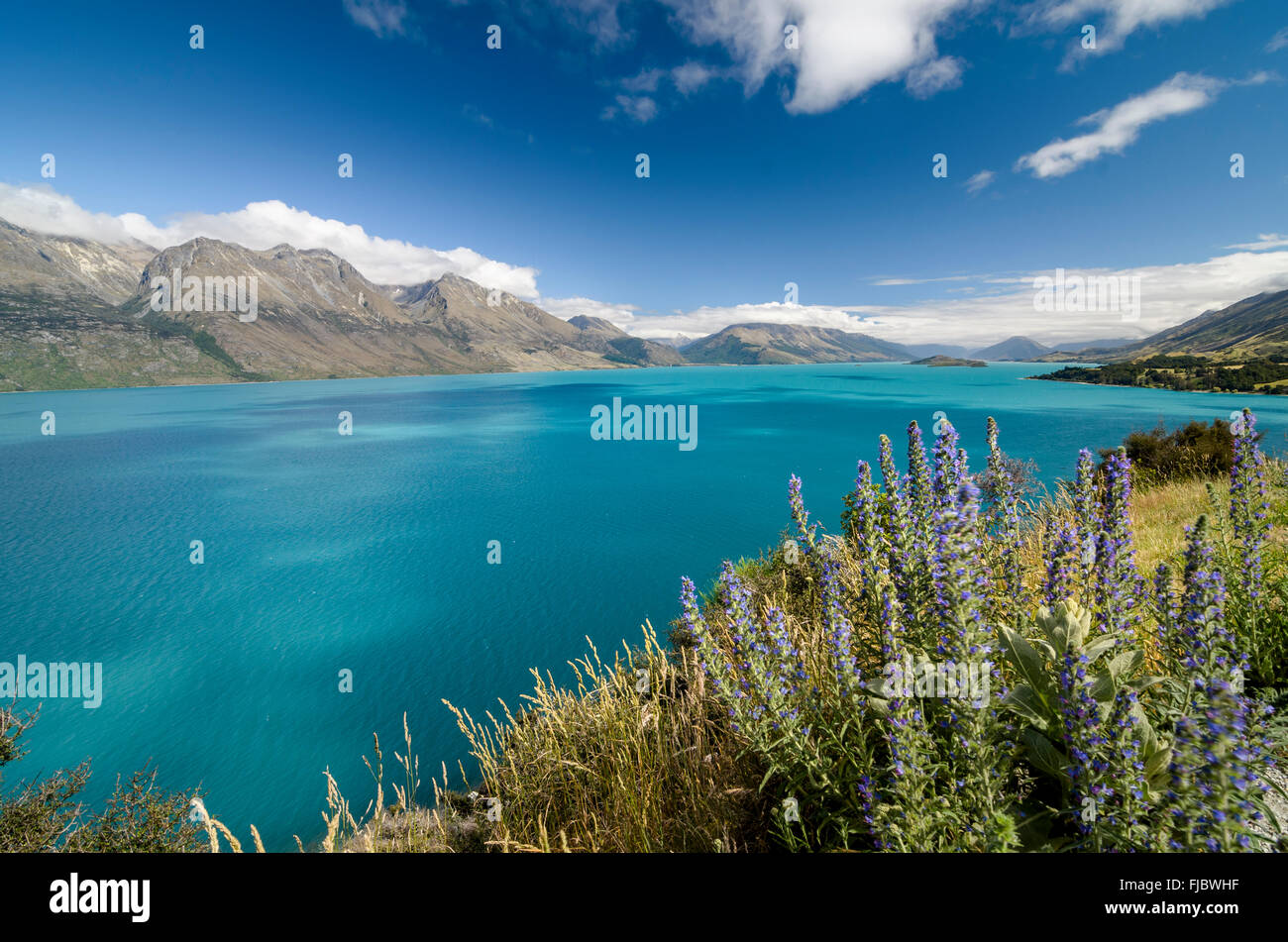 Turquoise Lake, Lake Wakatipu, Remarkables Otago mountains behind, near Queenstown, Southern Province, New Zealand - Stock Image