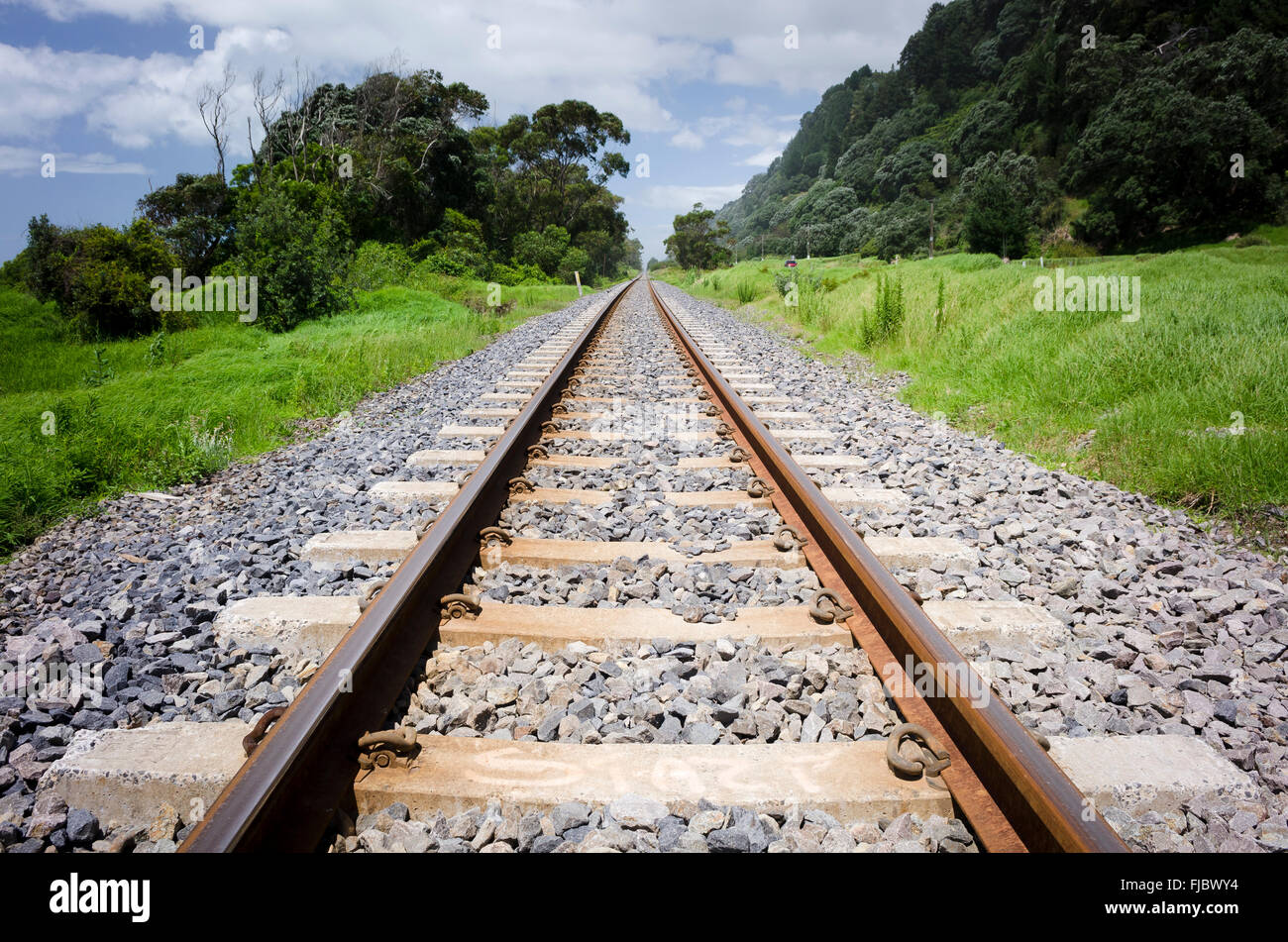 Railroad tracks, South Island, New Zealand - Stock Image