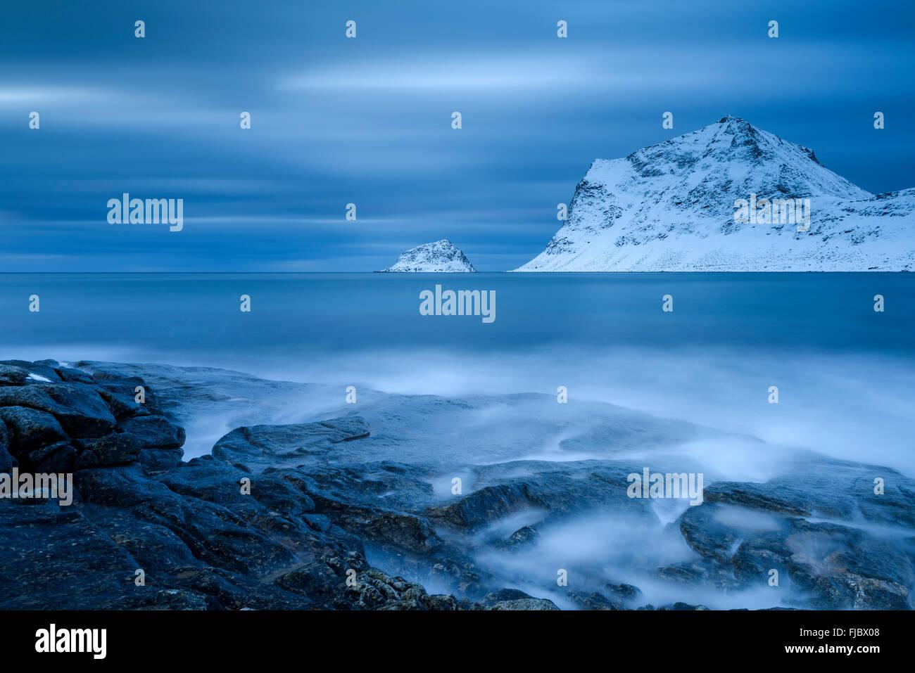 Blue hour on the beach, Haukland, Lofoten, Norway - Stock Image