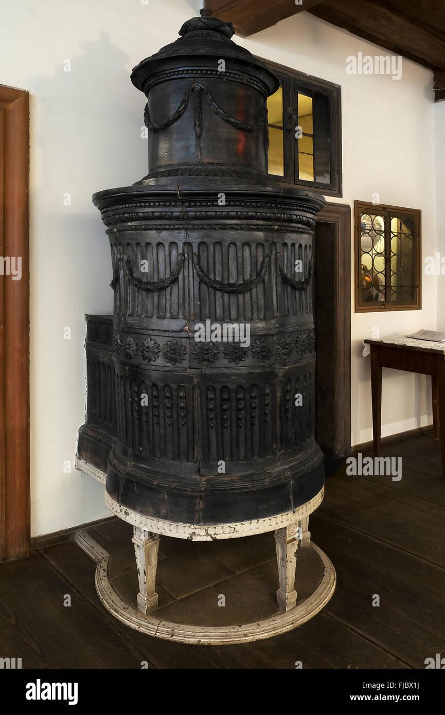 Cockle stove dating from the Biedermeier period 1818-1848, Deutsches Hirtenmuseum or German Shepherds Museum, Hersbruck - Stock Image