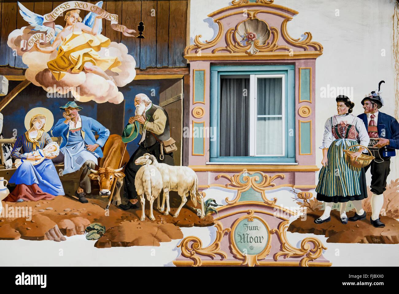 Lüftlmalerei fresco painting adorning the facade of a house, detail, Garmisch-Partenkirchen, Upper Bavaria, - Stock Image