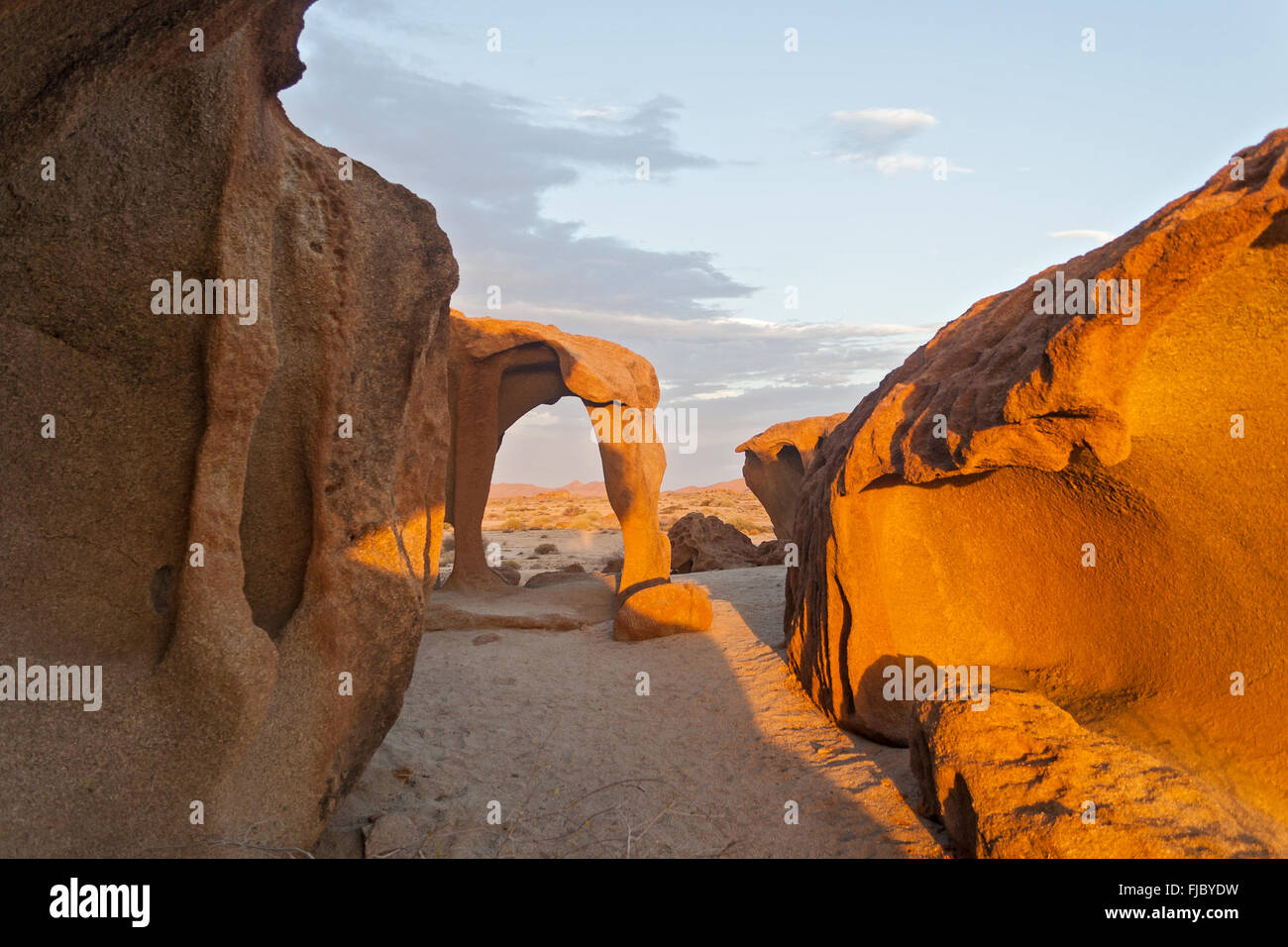 granite stone formation in the north of the Welwitschia Plains, Namibia - Stock Image