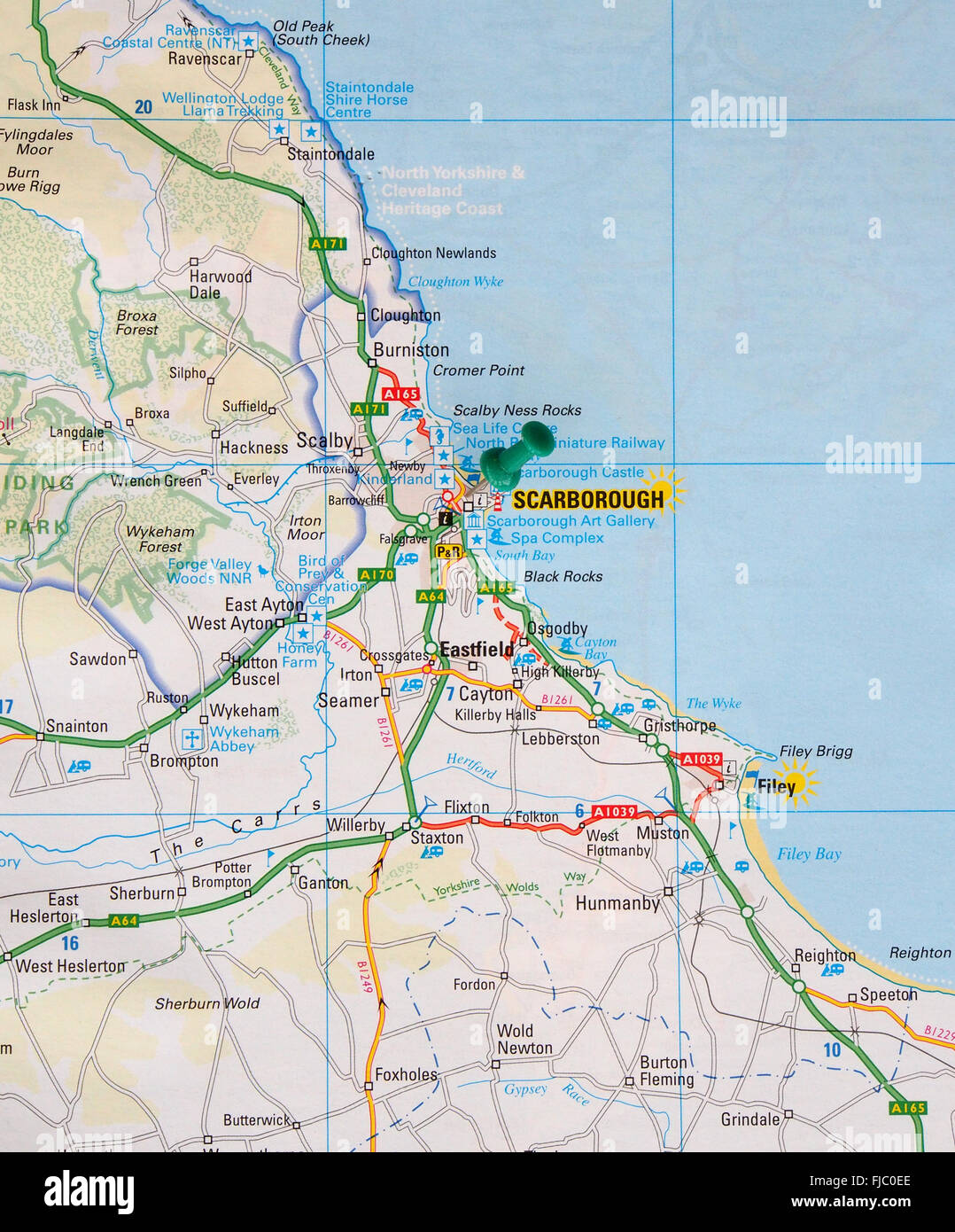 Road map of the east coast of England, showing Filey and with a map ...