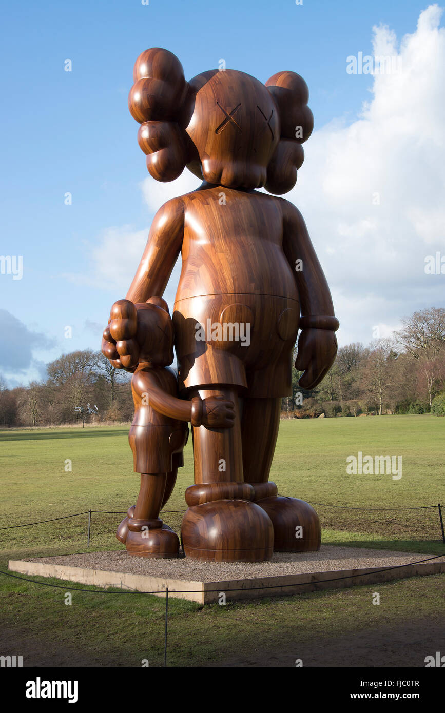 fae52bd7 The Large Wooden Cartoon Sculpture Good Intentions by Kaws at Yorkshire  Sculpture Park West Bretton Wakefield Yorkshire England