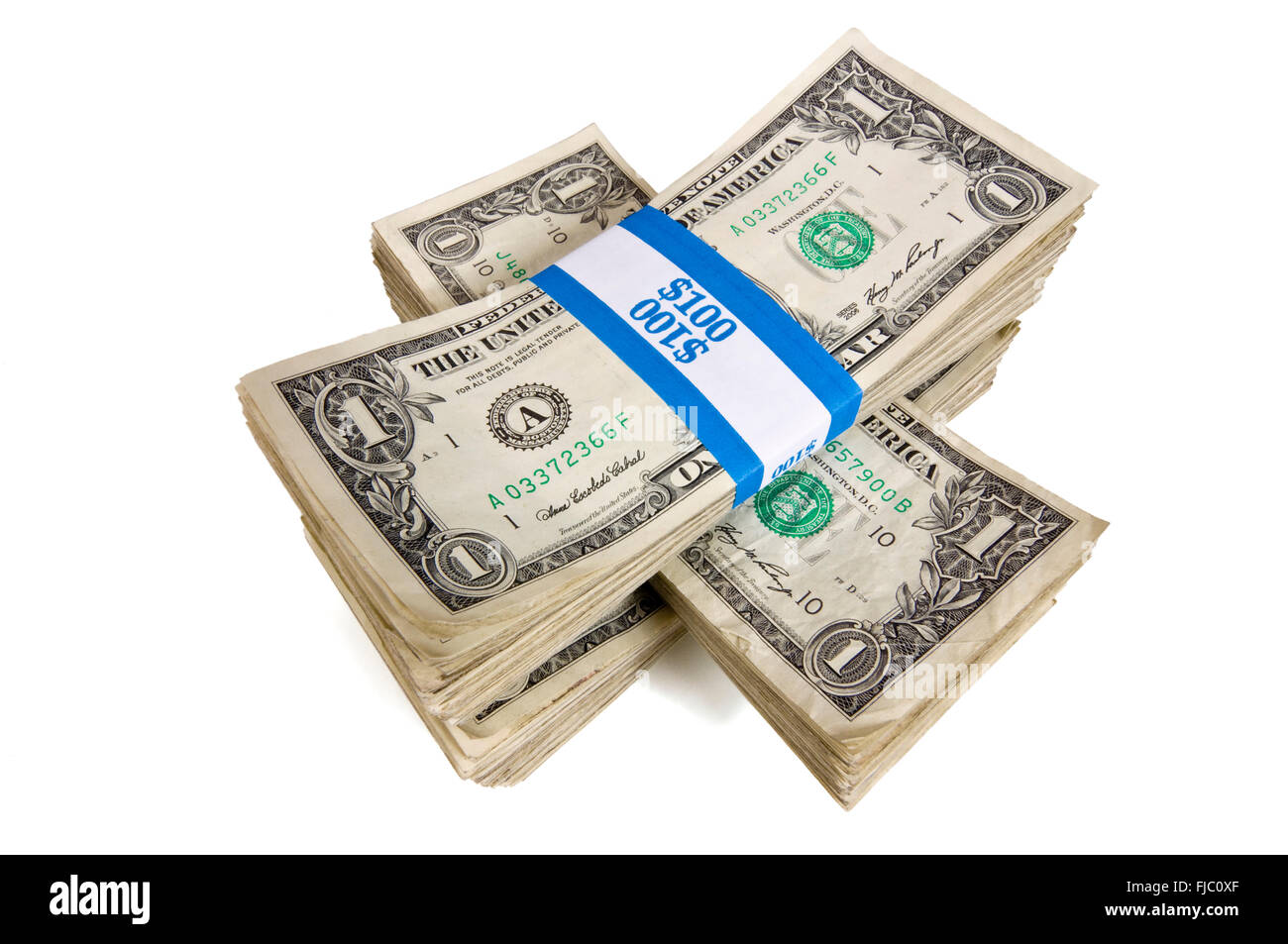 Bundles of Cash Stacked - Stock Image