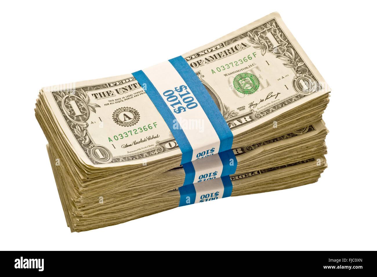 Bundles of Dollar Bills - Stock Image