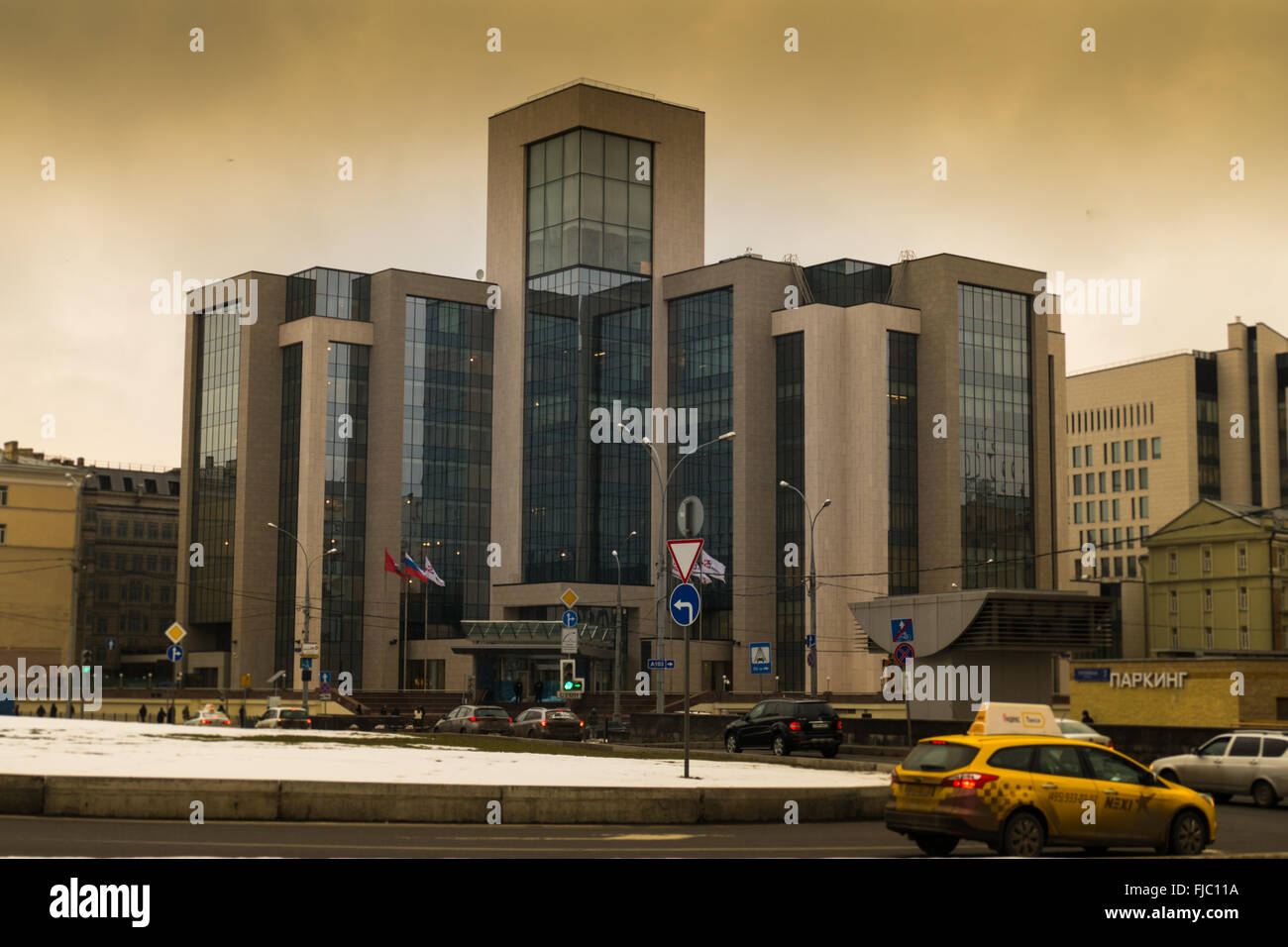 Gazprom office building in Moscow on Butcher winter - Stock Image