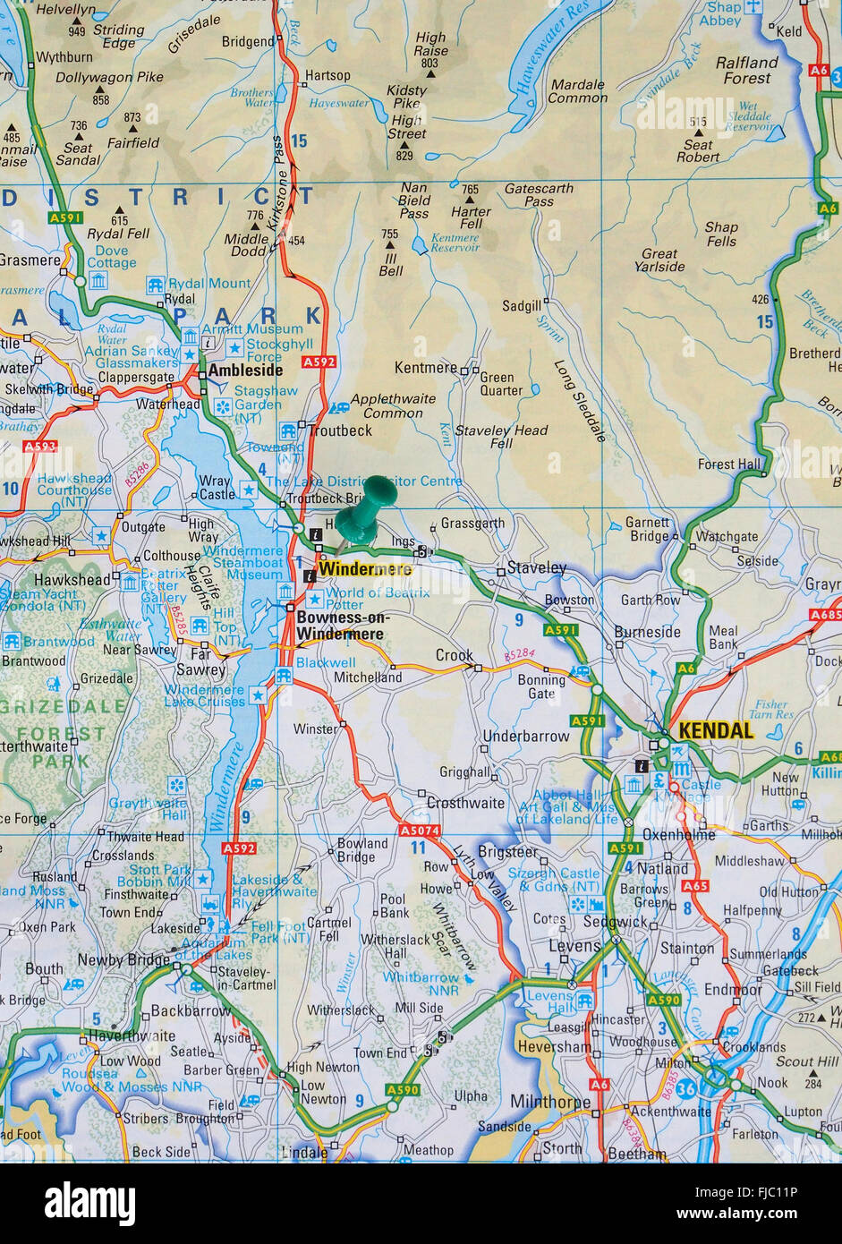 Lake Windermere Map Road map of the Lake District showing Lake Windermere with a map  Lake Windermere Map