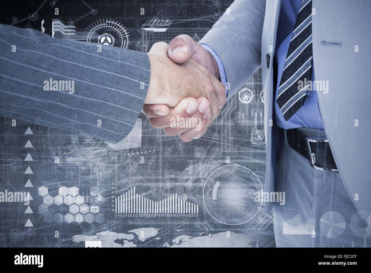 Composite image of  businessman shaking hands with a co worker - Stock Image