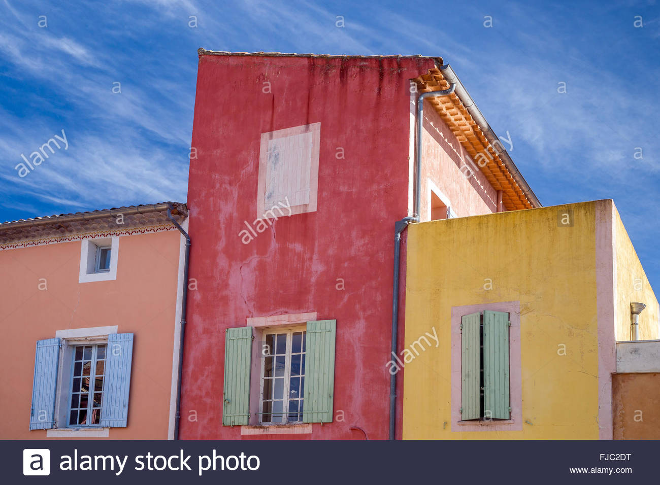 Colorful houses in Roussillon village - France Stock Photo