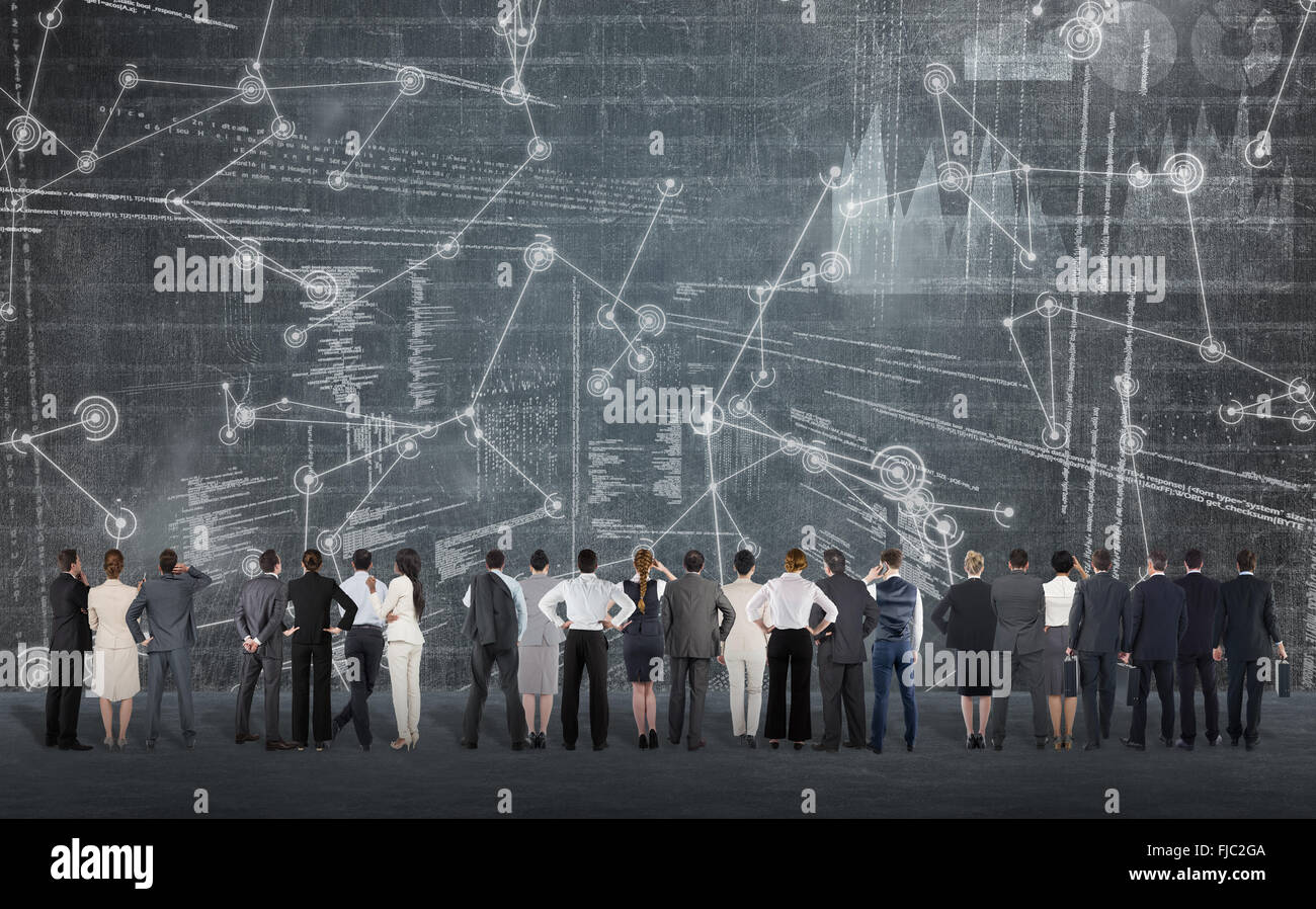 Composite image of rear view of multiethnic business people standing side by side - Stock Image