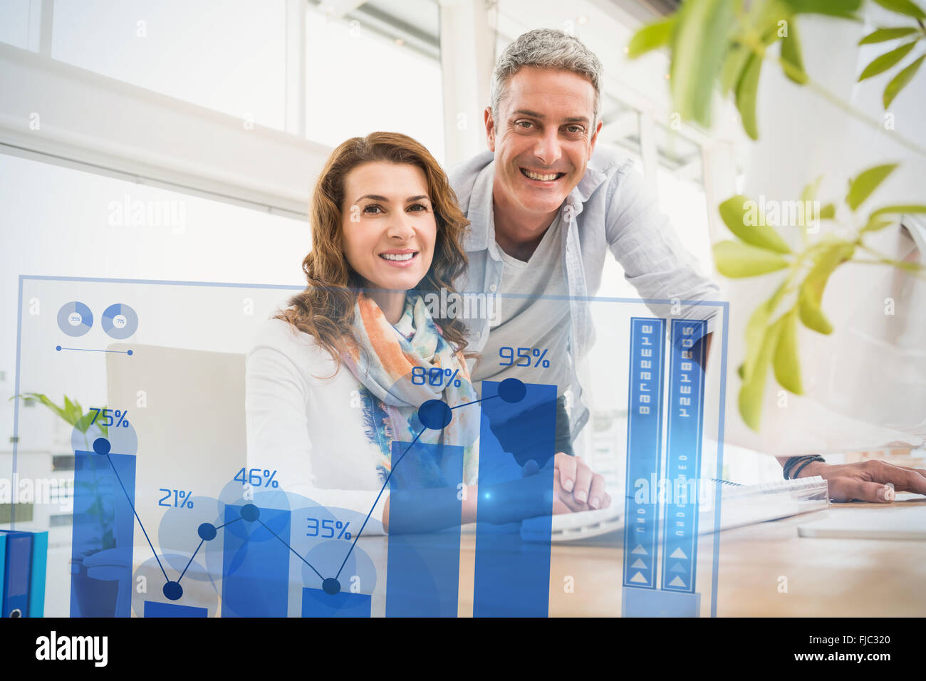 Composite image of percentages graphical representation - Stock Image