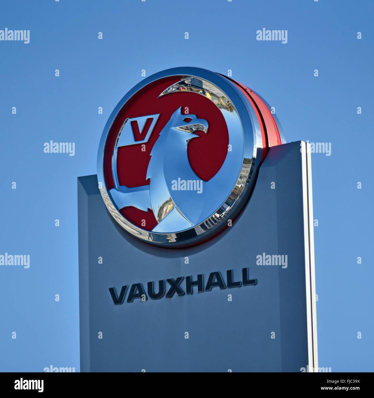 Vauxhall Motors logo at dealership. Kendal, Cumbria, England, United Kingdom, Europe. - Stock Image