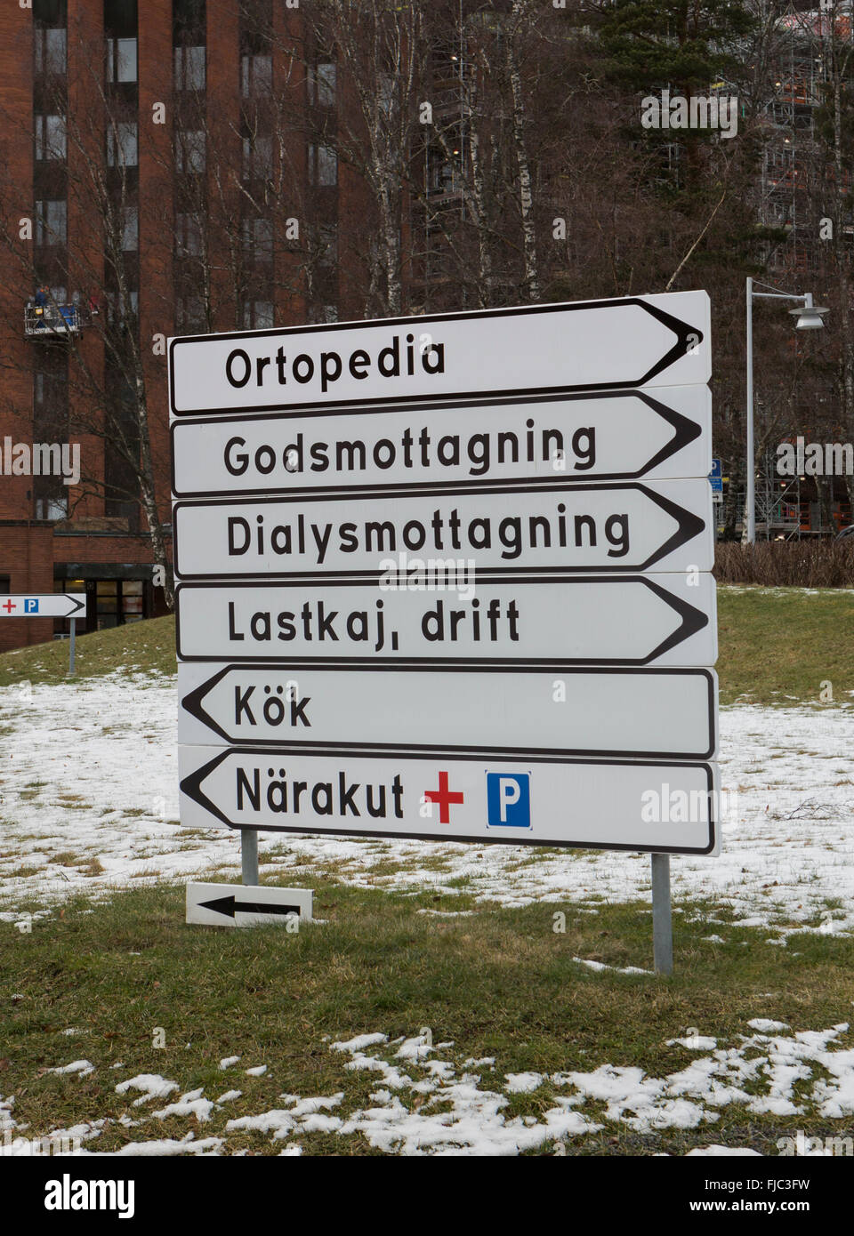 Reference to the emergency room at the hospital Löwenströmska, Upplands Väsby - Stock Image