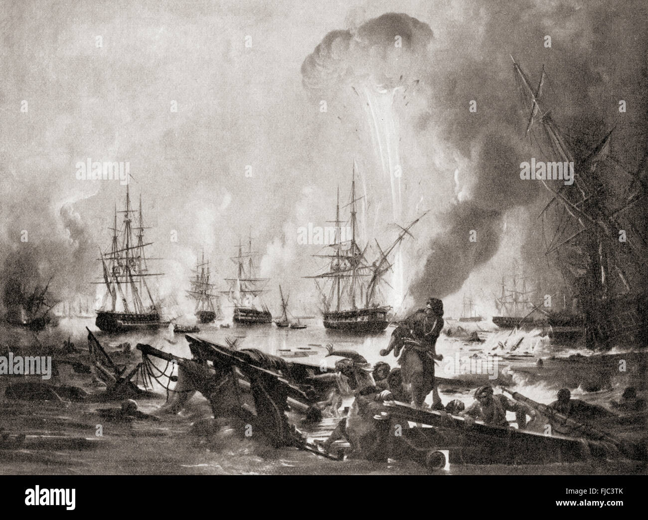 The Battle of Navarino, 20 October 1827 in Navarino Bay, (modern day Pylos), Greece between the Ottoman Empire and - Stock Image