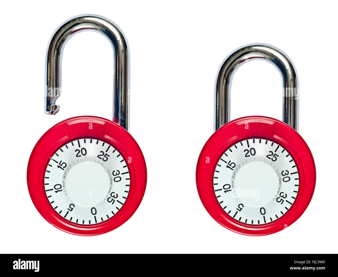 Combination Lock Open and Locked - Stock Image
