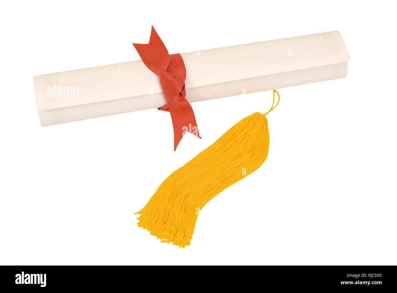 Diploma With Gold Tassel and Red Ribbon - Stock Image