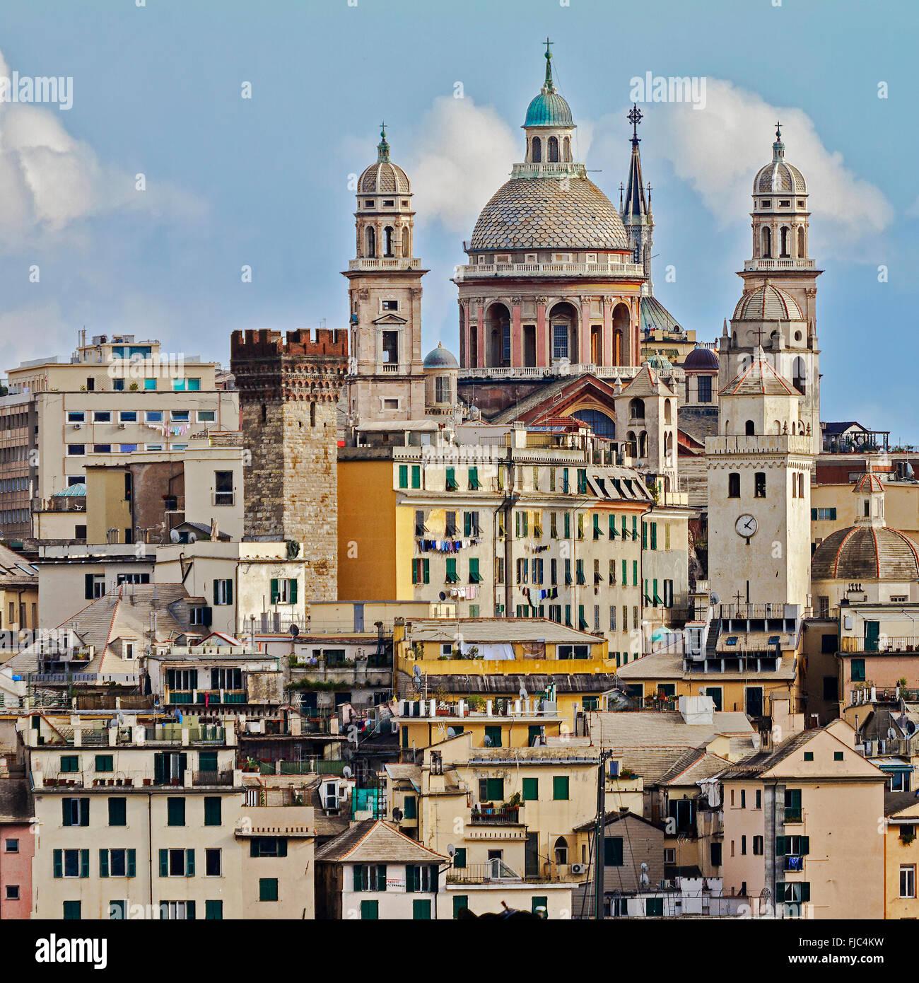 Buildings Around The Harbour Genoa Italy - Stock Image