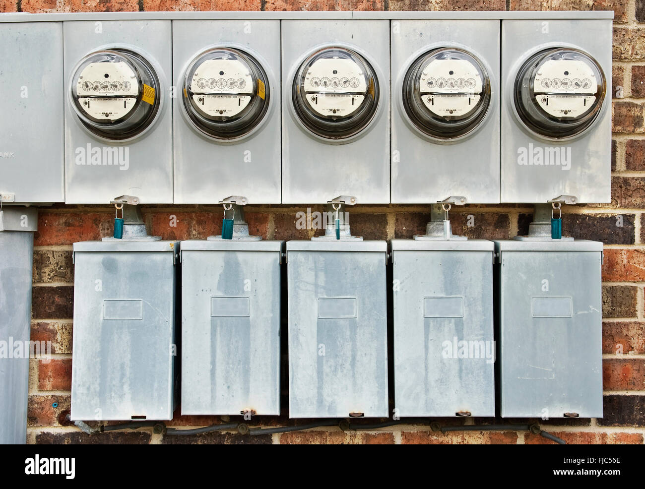 Electric Meters For Multi-Family Apartments 1 - Stock Image