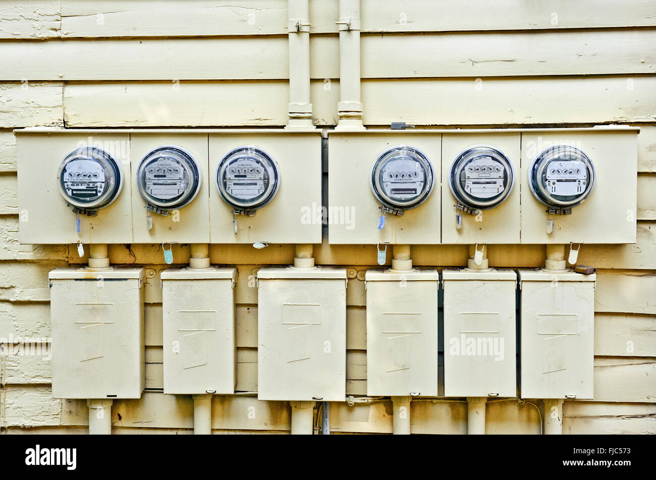 Electric Meters On Old House - Stock Image