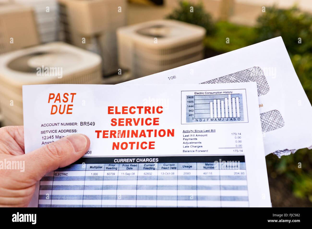 Electric Service Termination Notice - Stock Image