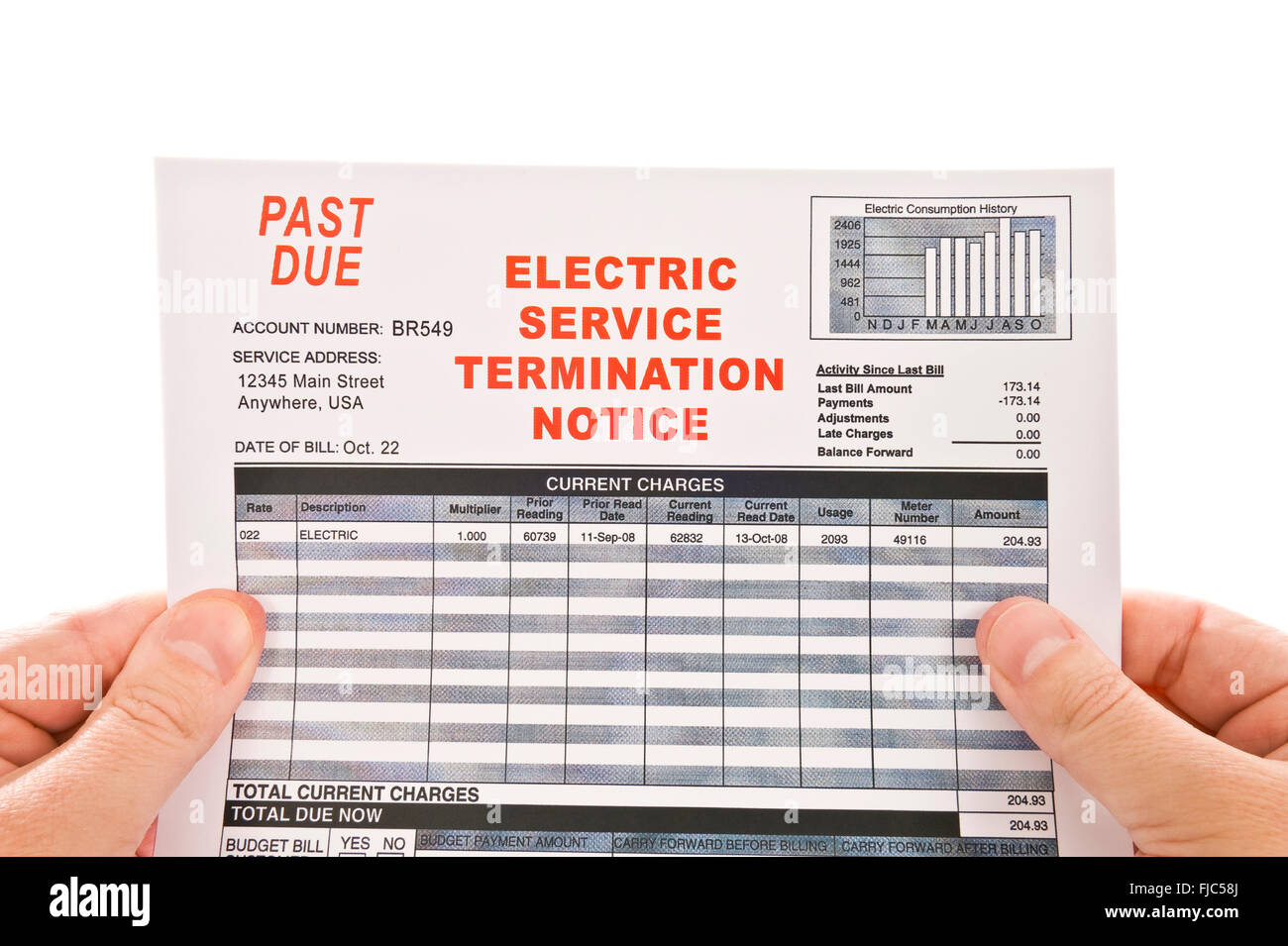 Electricity Service Past Due Bill - Stock Image